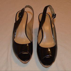 Nine West Cork Wedge Sandals Black Patent Leather